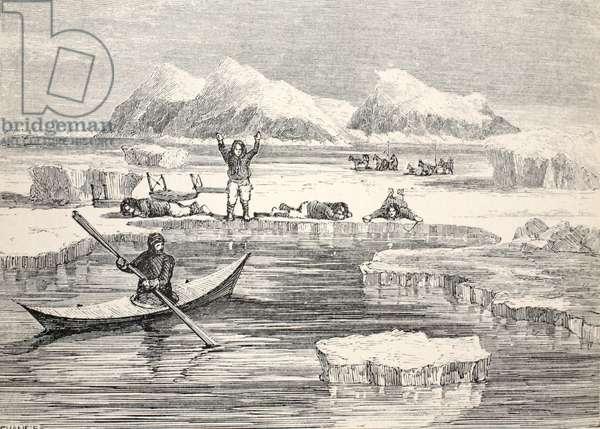 Eskimos imitating animals to induce Europeans to approach, 1859 (litho)