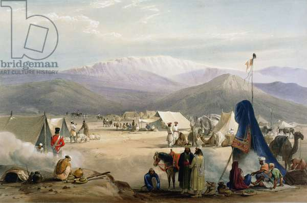 First Anglo-Afghan War 1838-1842: British army under canvas at Dadur at entrance to the Bolan Pass. Sioriab mountains in background. From J Atkinson Sketches in Afghanistan London 1842. Hand-coloured lithograph.