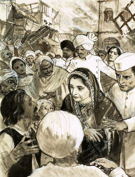 Indira Gandhi in the city of Ahmadabad during the riots (gouache on paper)