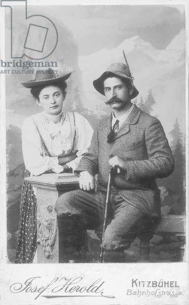 Eric and Laure, parents of Paul-Emile Victor, Kitzbühel, Tyrol, Austria-Hungary, August 1906 (b/w photo)