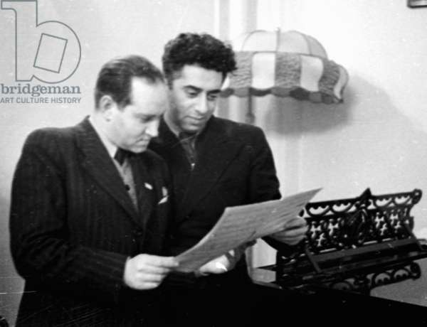 Composer Aram Khachaturian (left) and violinist David Oistrakh (right) 1941 (b/w photo)
