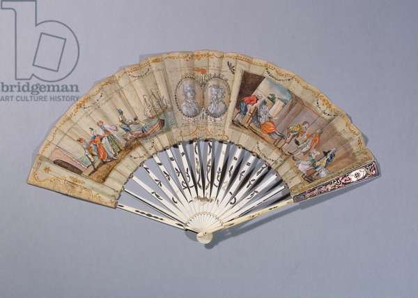 Fan with illustrations from 'The Countess of Cagliostro', c.1786 (gouache on paper & ivory)