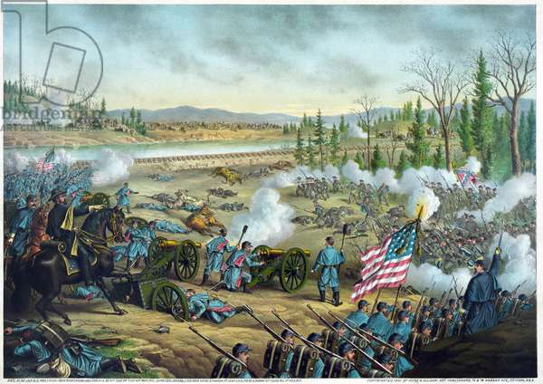 American Civil War (1861-1865): Battle of Stones River december 1862 - january 1863: statuquo, engraving