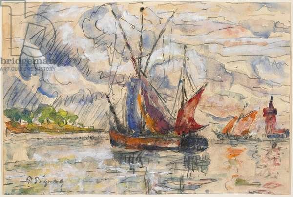 Fishing Boats in La Rochelle, c.1919-21 (graphite, w/c & opaque white)