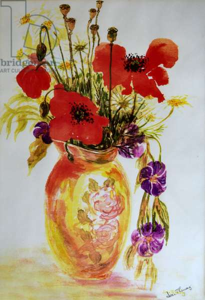 Poppies in a Vase,2000, (watercolour)
