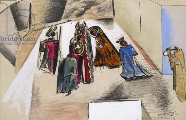 The King Plays, 1942 (crayon, pen and Indian ink, charcoal, and bodycolour on wove paper)