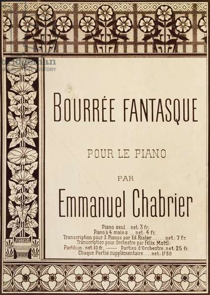 Title page of Bourree Fantasque, works for solo piano, by Emmanuel Chabrier (1841-1894)