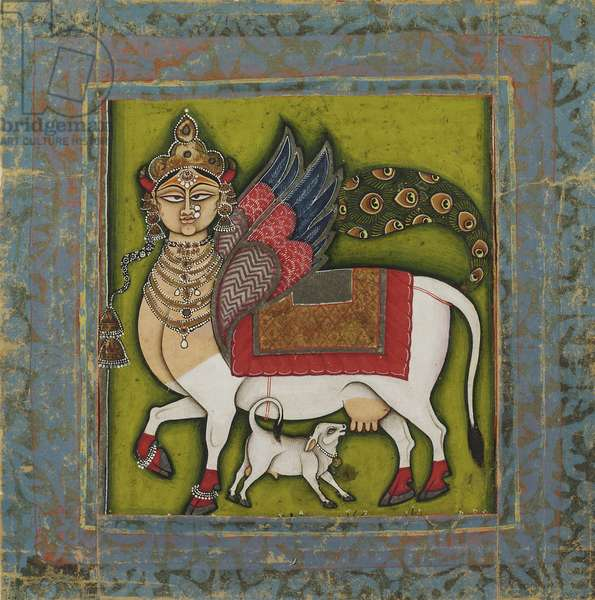 Kamadhenu, The Wish-Granting Cow, c.1825-55 (opaque w/c & metallic pigments on paper)