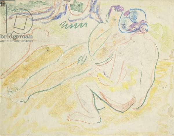 Two Reclining Nudes (verso); Zwei Liegende Akte (verso), 1905 (soft crayon on paper)