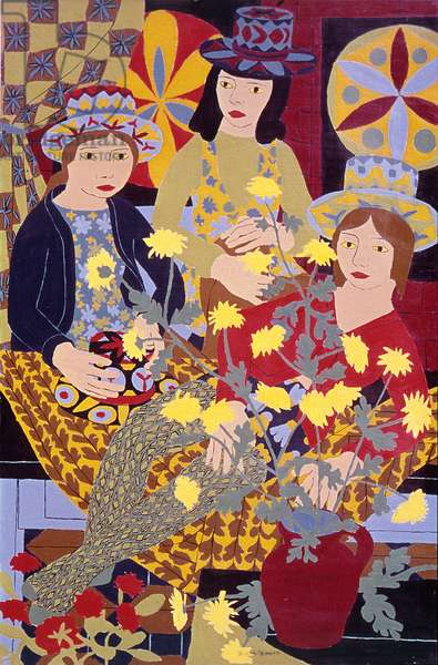 Real Flowers and Painted Hats, 1969 (oil on board)