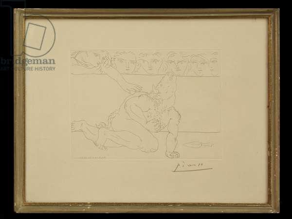 Dying Minotaur, from the Minotaur Series, 1933 (etching)