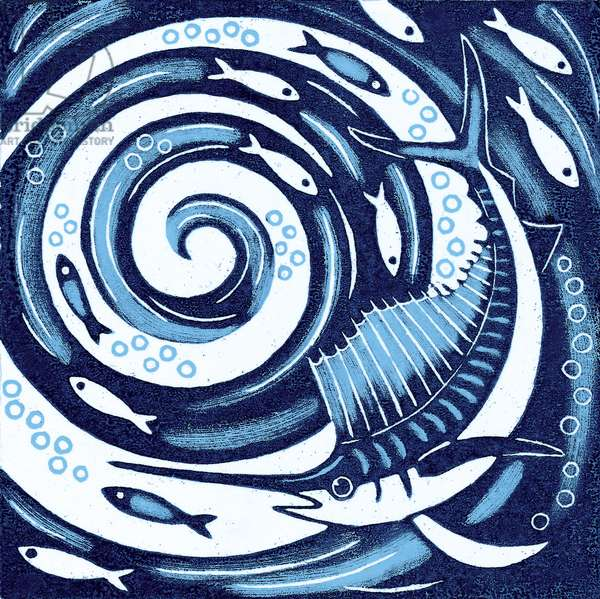 Sailfish, 2010 (colour woodcut)