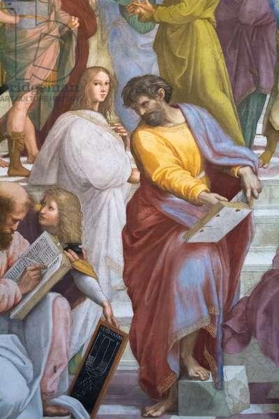 The School of Athens, detail of Parmenides, Scala della Segnatura, 1510-11 (fresco)