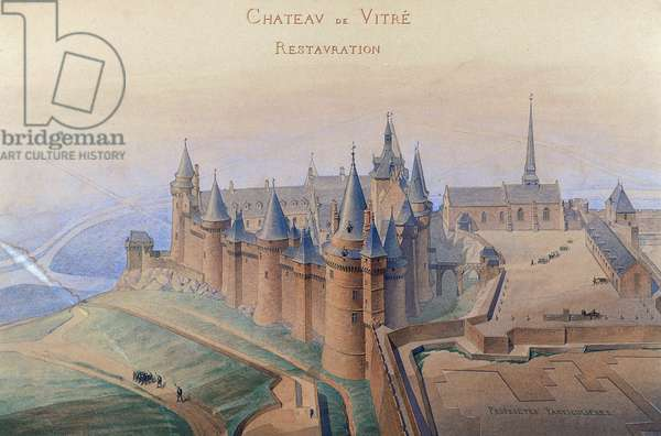 Plan for restoration of Vitre' castle, 1870, by L Darcy, ink and watercolor, France, 19th century