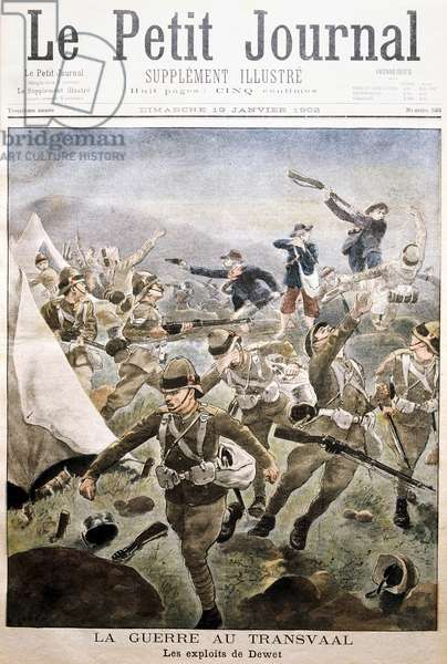 Boer War: Boer forces under General Dewet surprising encampment of British soldiers at Tweefontein, 25 December 1901. 368 British killed, wounded or taken prisoner and their guns, munitions and provisions seized by the Boers. From Le Petit Journal Paris, 19 January 1902.