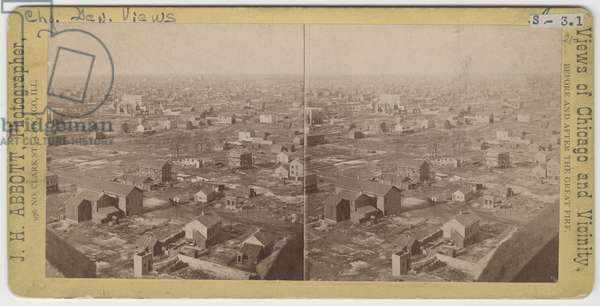 Stereograph of view north/northwest from the Water Tower after the Chicago Fire of 1871, 1871 (b/w photo on card mount)