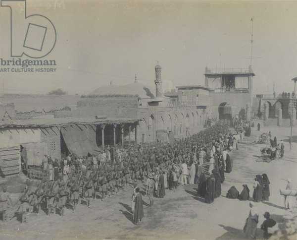 Indian troops entering Baghdad, 1917 (b/w photo)