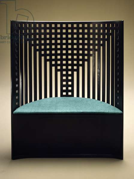 Willow seat with chequer-work, curved back, 1904 (black lacquered ash)
