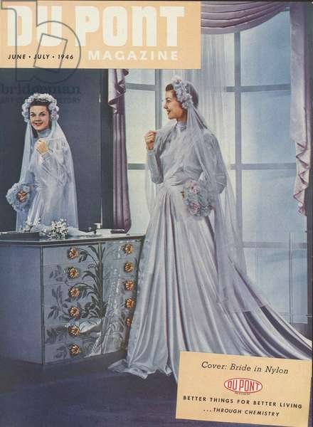 Bride in Nylon, front cover of the 'DuPont Magazine', June-July 1946 (colour litho)