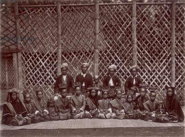 Malaysian men and women in Singapore, c.1890 (b/w photo)