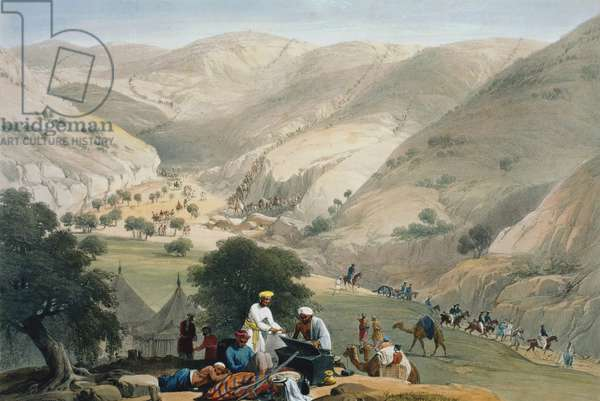 First Anglo-Afghan War 1838-1842: Encampment of lst Bengal European Regiment. Regiment struggling over mountains with the artillery. From J Atkinson Sketches in Afghanistan London 1842. Hand-coloured lithograph.