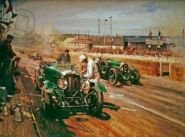 Bentley at Le Mans, (acrylic on canvas)