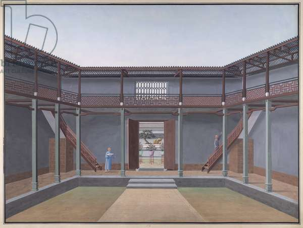 Honam Temple - Courtyard with veranda and balcony, 1800-05 (opaque w/c on paper)