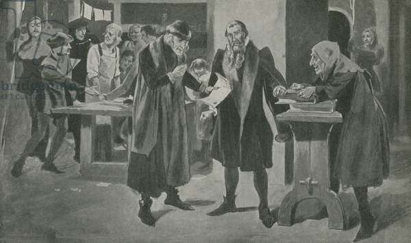 The last tribulation of Gutenberg, the printer, on the verge of victory (litho)