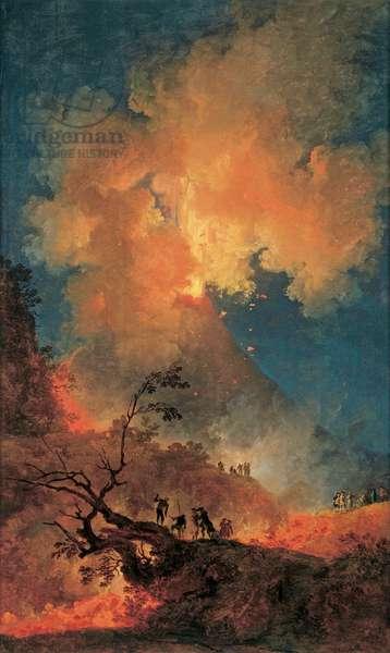 Vesuvius Erupting at Night (oil on canvas)