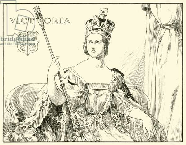 Queen Victoria (After the Coronation Portrait by Sir George Hayter) (ink on paper)