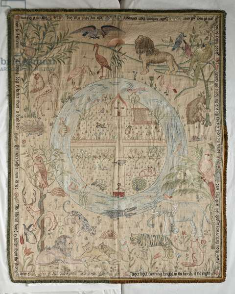 Homestead and Forest cot quilt, 1900 (embroidery on silk)