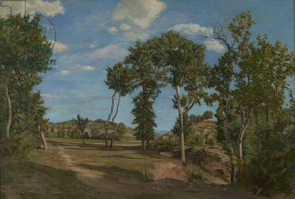 Landscape by the Lez River, 1870 (oil on canvas)