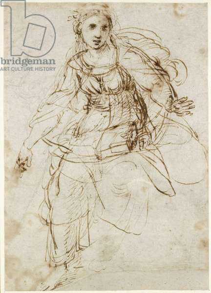 Recto: Allegorical Figure of Theology, WA1846.195 (pen & brown ink, with separate traces of leadpoint on the recto)