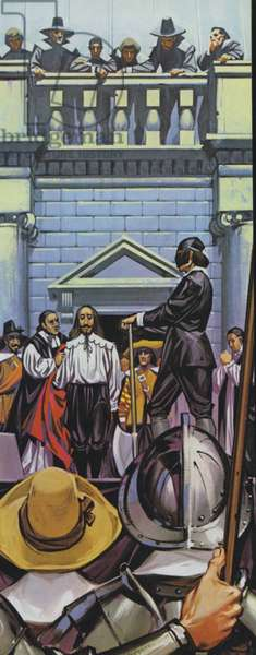 Execution of King Charles I (colour litho)
