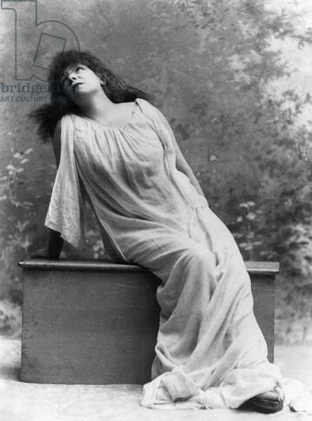 SARAH BERNHARDT (1844-1923) French actress. Bernhardt in the title role of 'Izey,' at the Abbey Theatre, Ireland in 1896.