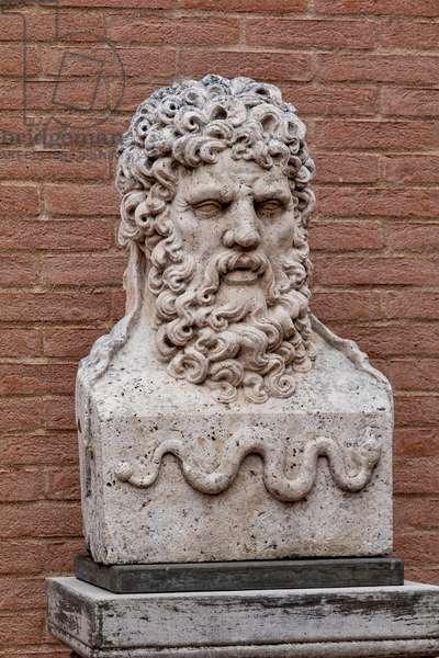 Fontanellato, Labirinto della Masone, by Franco Maria Ricci:  a bust representing Asclepius (god of medicine),  (photo)