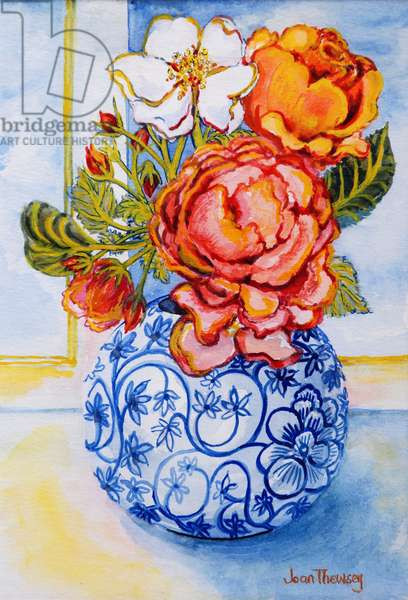 Cottage Roses, Round Blue and White Vase 2004 (w/c on paper)