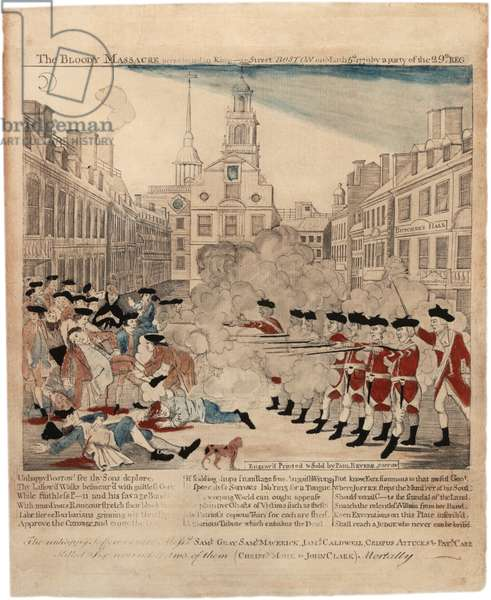 The Bloody Massacre perpetrate in King-Street Boston on March 5th 1770 by a party of the 29th Reg, 1770 (hand-coloured engraving)