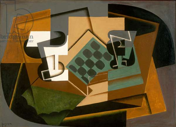 Chessboard, glass and dish, 1917 (oil on panel)