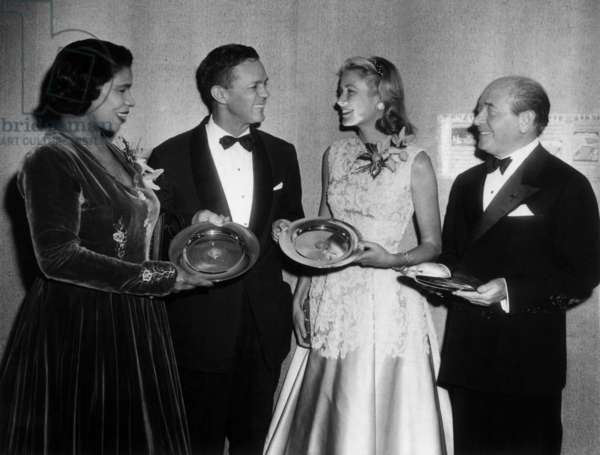 Marian Anderson, Grace Kelly and Eugene Ormandy, 25th February 1955 (b/w photo)