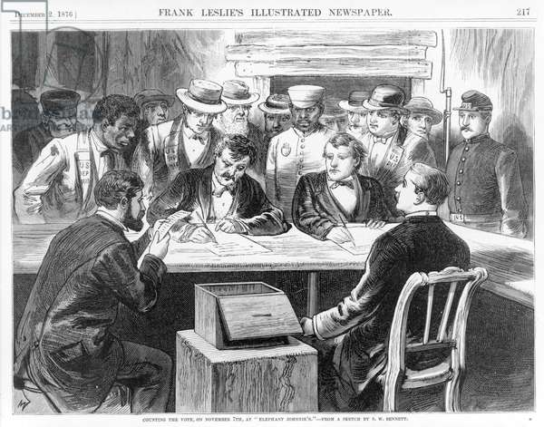 """Counting the vote, on November 7th, at """"Elephant Johnnie's"""". 1876"""