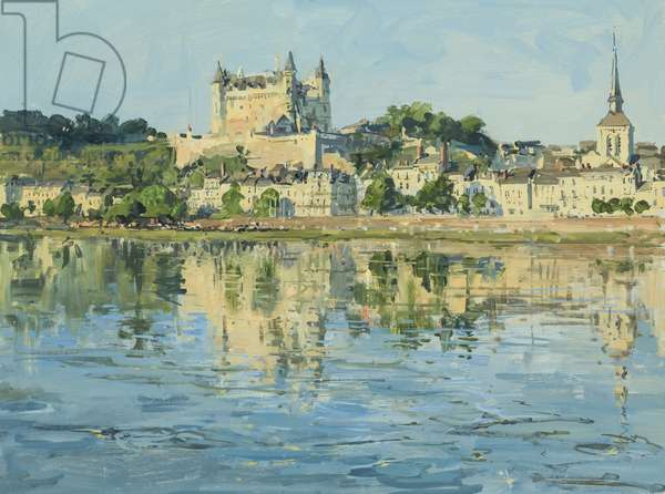 Saumur, across the Loire: The Castle and Saint Pierre, 7am, 2016 (oil on board)
