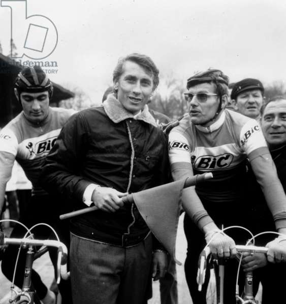 Charly Grosskost, Jacques Anquetil and Jan Vanssen on Starting Line For Paris - Nice Cycling Race March 08, 1970 (b/w photo)