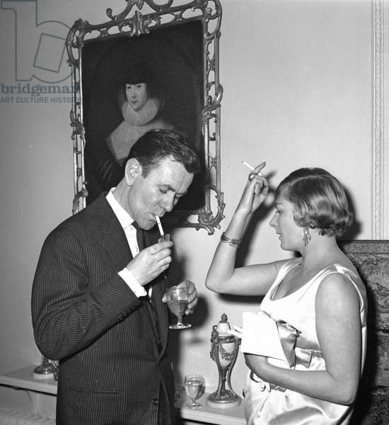 Derek Stewart Bell and Ruth Lynam at Countess Jellicoe's cocktail party, London, UK, 1956