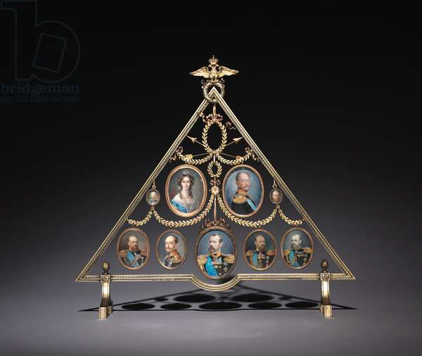 Frame for Nine Miniatures, firm of Peter Carl Fabergé (1846-1920), 1896-1905 (gold, silver gilt)