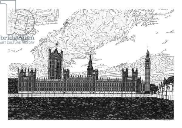 Houses of Parliament, 2015 (pen and ink)