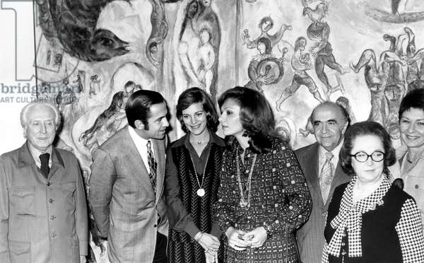 At Maeght Foundation in Front of Adam and Eve Painting L-Raime Maeght Constantin and Anne Marie of Greece Empress Farah and Iran Prime Minister and Mrs Maeght on October 22, 1973 (b/w photo)