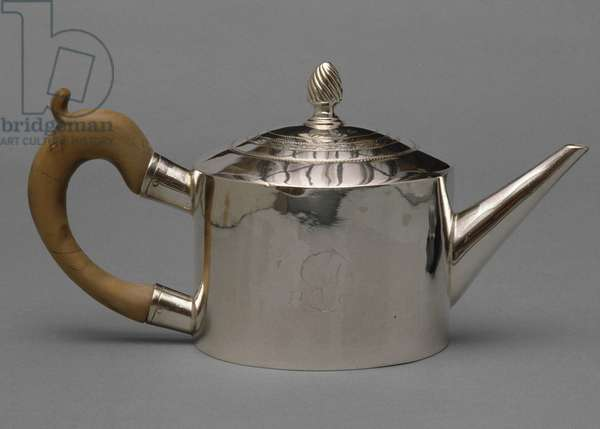 Teapot, 1801-1820 (silver with wood handle)