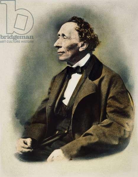 HANS CHRISTIAN ANDERSEN (1805-1875). Danish author. Oil over a photograph.