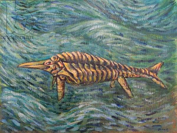 Ichthyosaurus (Early Lower Jurassic), 2017 (mixed media on paper)